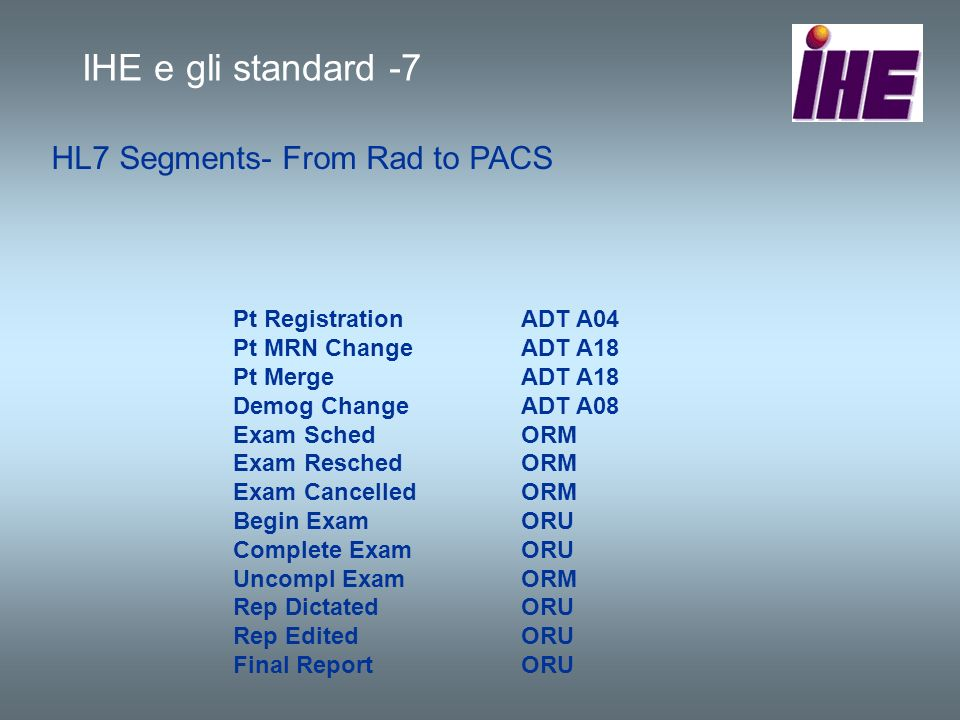 IHE e gli standard -7 HL7 Segments- From Rad to PACS
