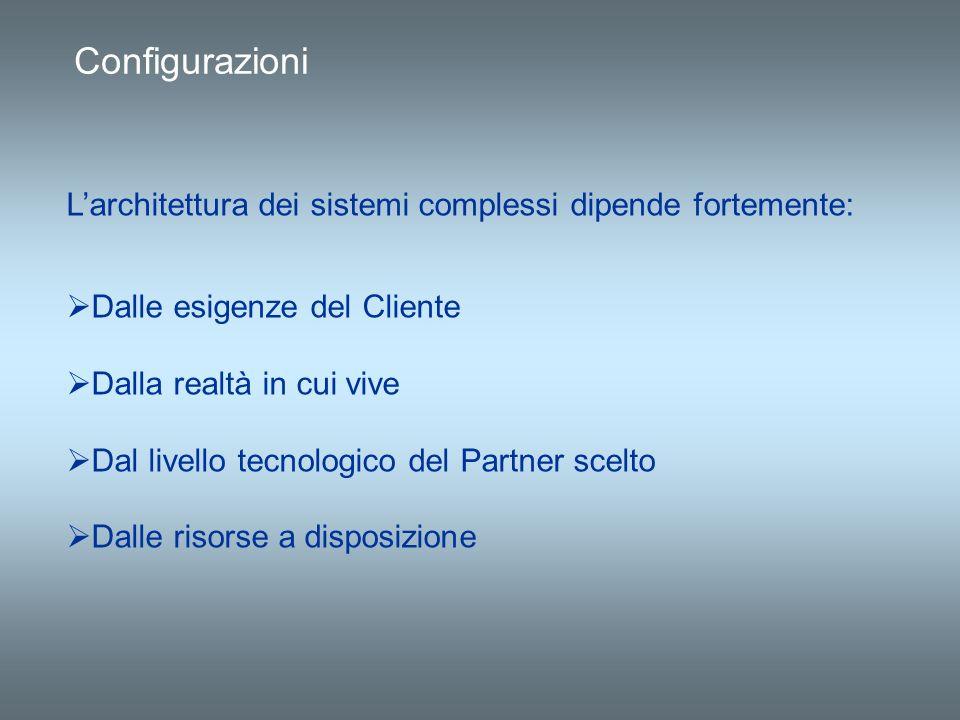 Configurazioni L'architettura dei sistemi complessi dipende fortemente: Dalle esigenze del Cliente.