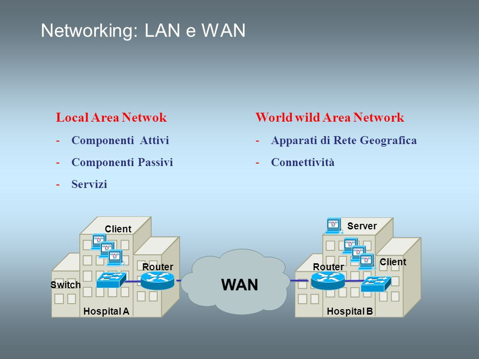 Networking: LAN e WAN WAN Local Area Netwok World wild Area Network