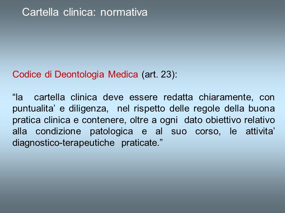 Cartella clinica: normativa