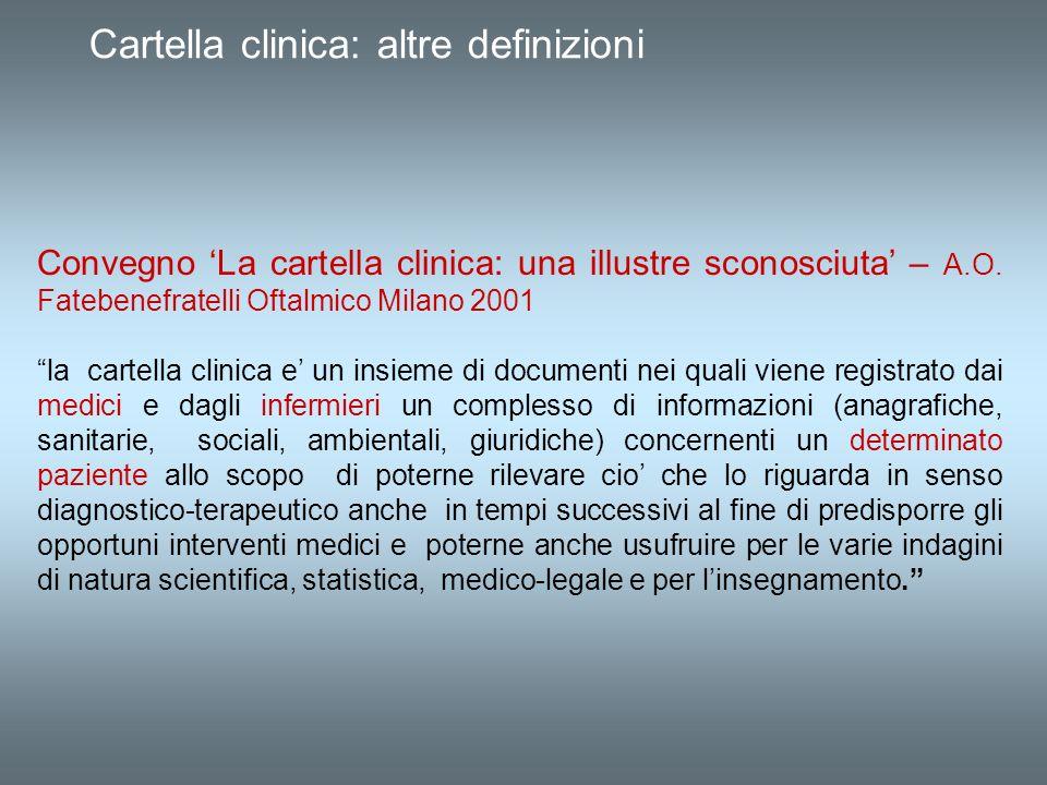 Cartella clinica: altre definizioni