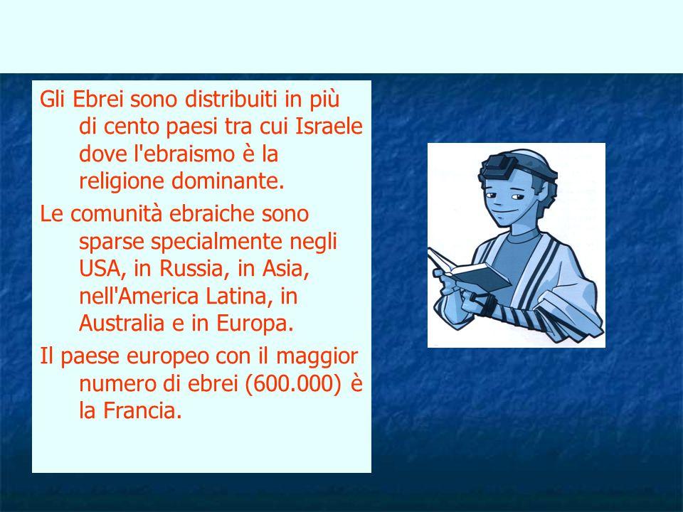 Gli Ebrei sono distribuiti in più di cento paesi tra cui Israele dove l ebraismo è la religione dominante.