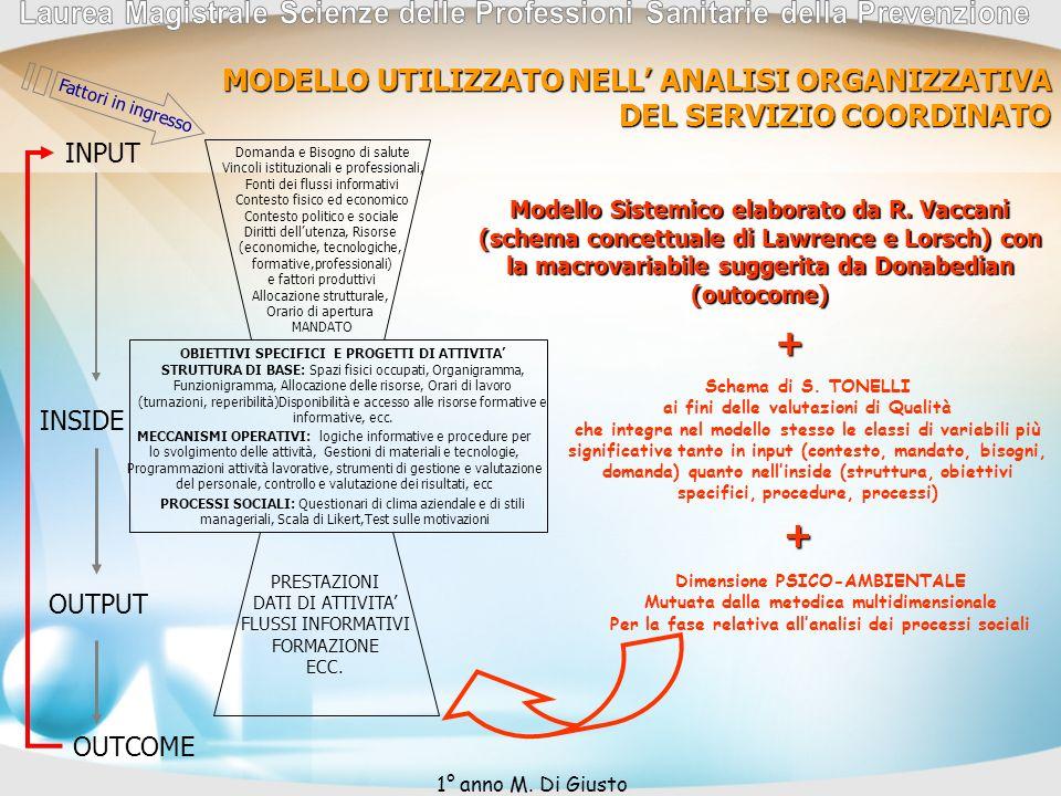 + + MODELLO UTILIZZATO NELL' ANALISI ORGANIZZATIVA