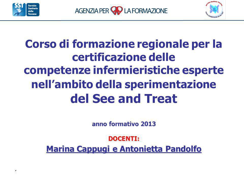 Corso di formazione regionale per la certificazione delle competenze infermieristiche esperte nell'ambito della sperimentazione del See and Treat anno formativo 2013 DOCENTI: Marina Cappugi e Antonietta Pandolfo
