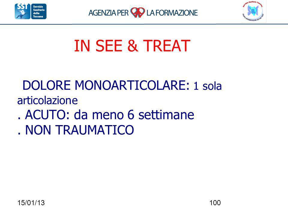 IN SEE & TREAT DOLORE MONOARTICOLARE: 1 sola. articolazione
