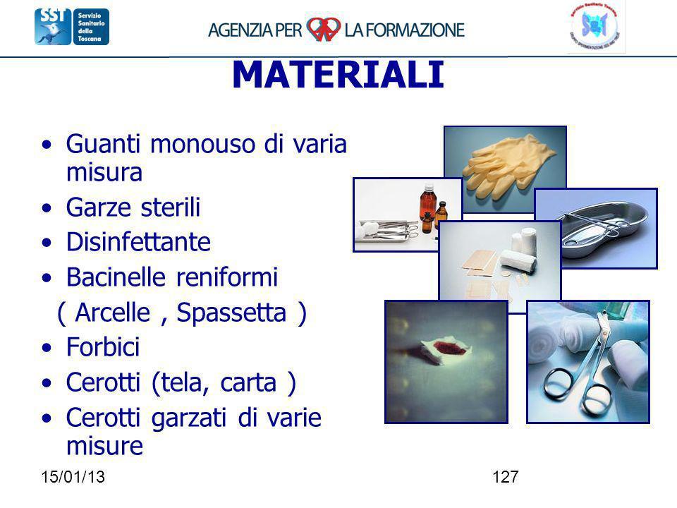 MATERIALI Guanti monouso di varia misura Garze sterili Disinfettante