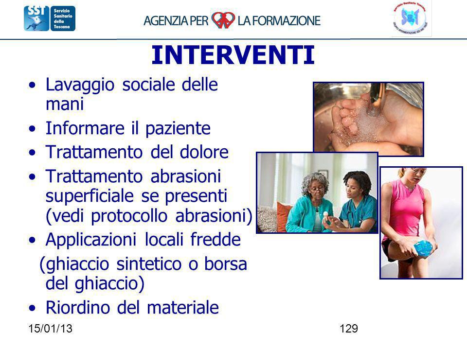 INTERVENTI Lavaggio sociale delle mani Informare il paziente