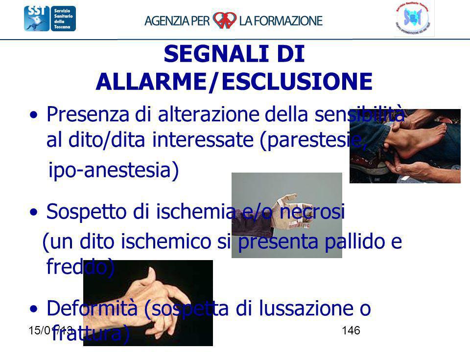 SEGNALI DI ALLARME/ESCLUSIONE