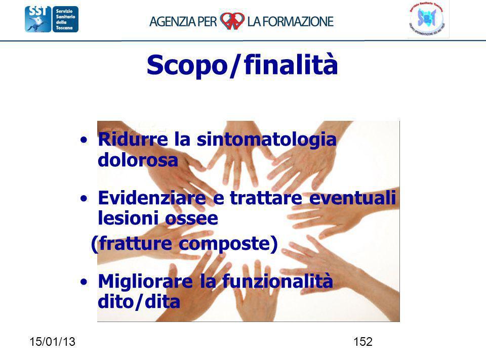 Scopo/finalità Ridurre la sintomatologia dolorosa