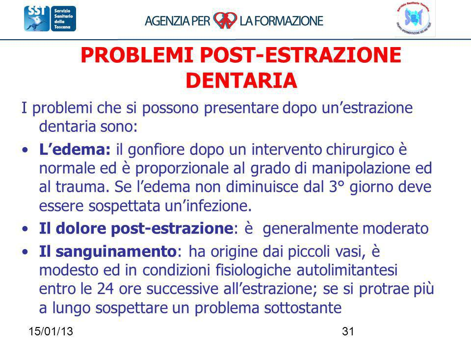 PROBLEMI POST-ESTRAZIONE DENTARIA