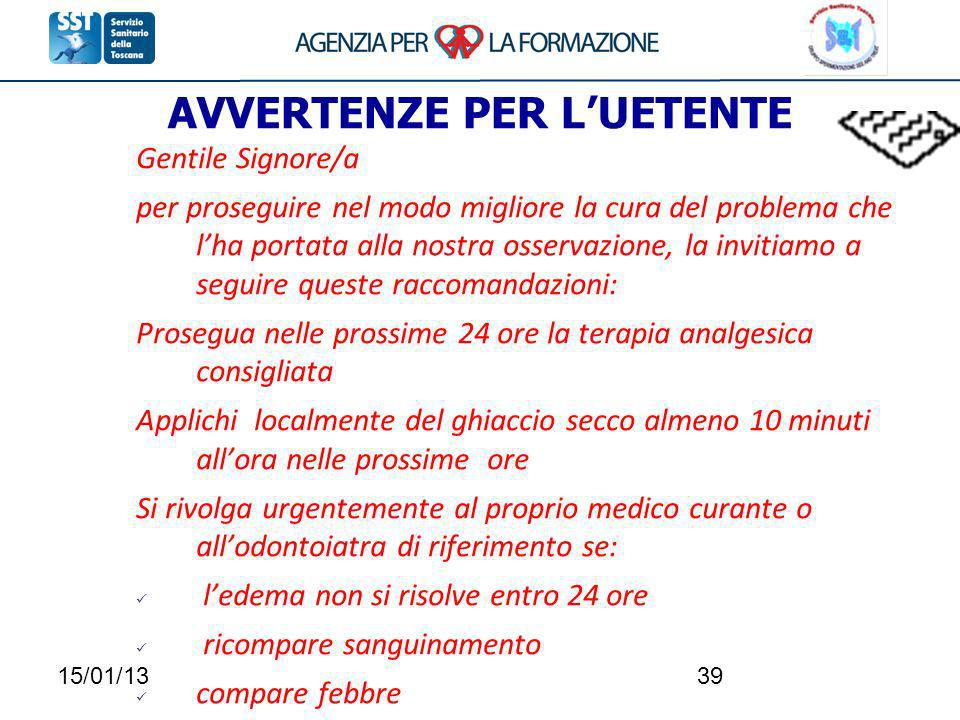 AVVERTENZE PER L'UETENTE
