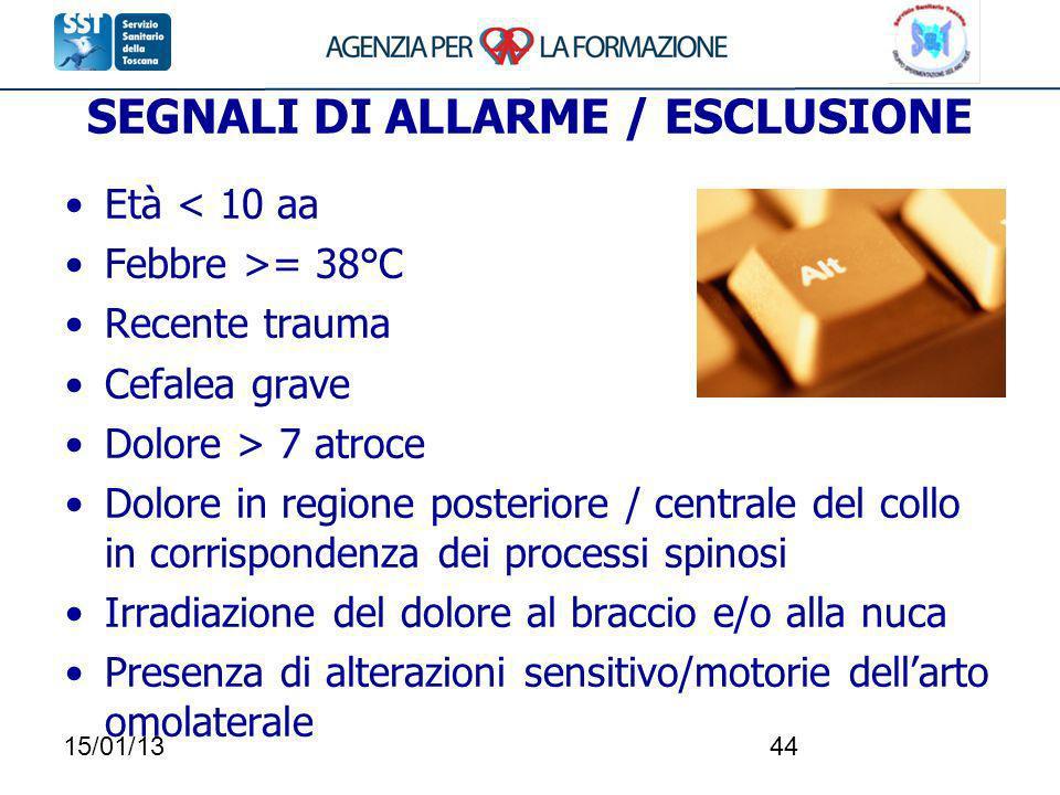 SEGNALI DI ALLARME / ESCLUSIONE
