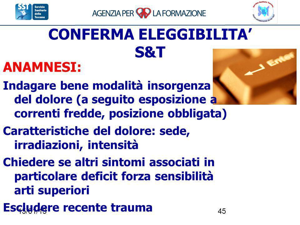 CONFERMA ELEGGIBILITA' S&T