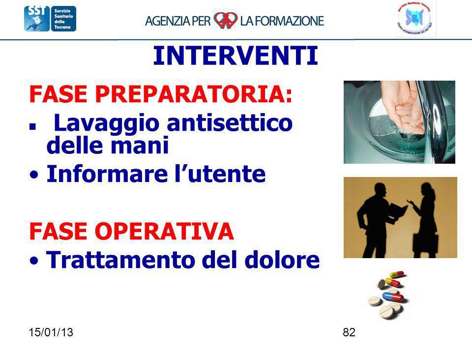 INTERVENTI FASE PREPARATORIA: Lavaggio antisettico delle mani