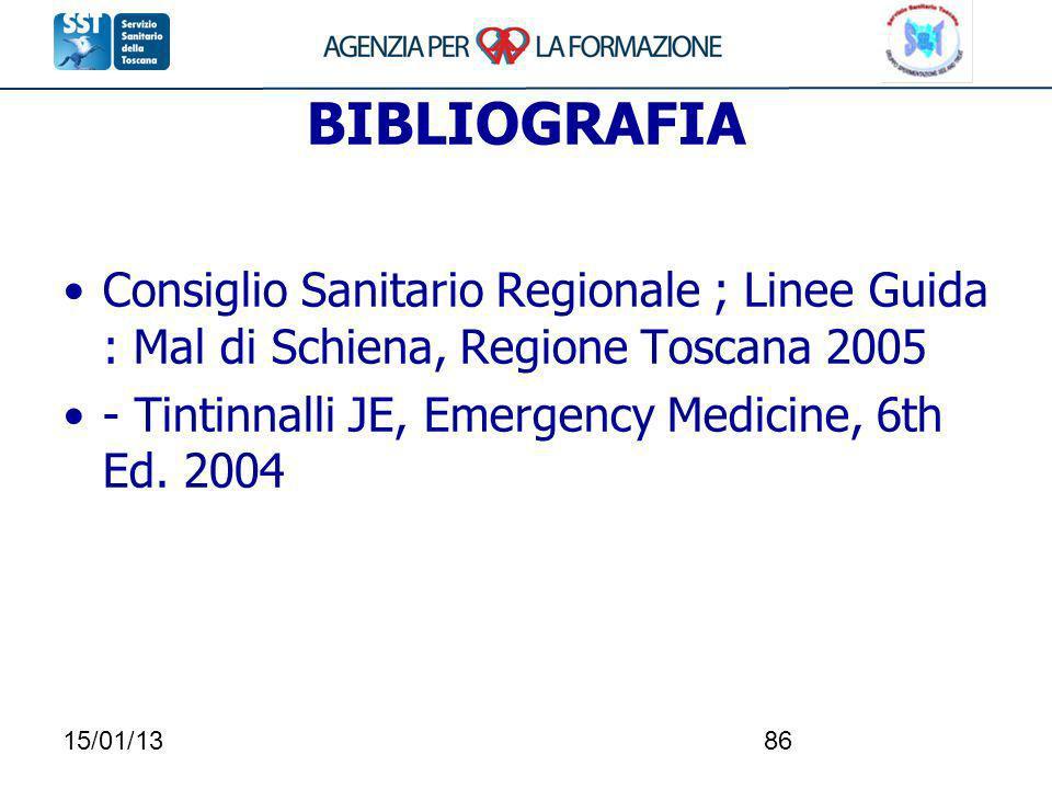BIBLIOGRAFIAConsiglio Sanitario Regionale ; Linee Guida : Mal di Schiena, Regione Toscana 2005. - Tintinnalli JE, Emergency Medicine, 6th Ed. 2004.
