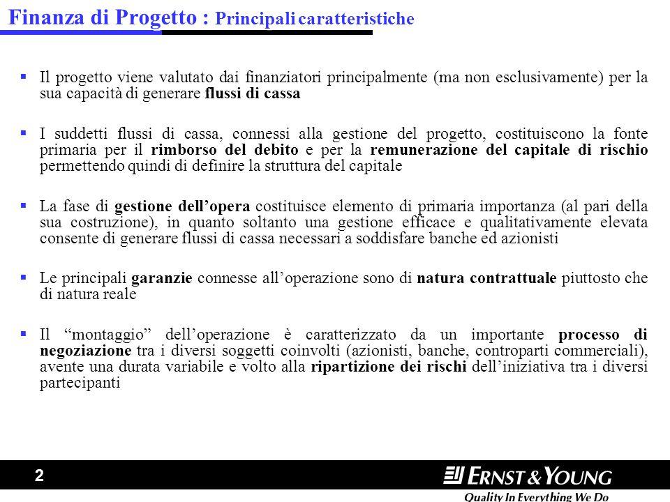 Finanza di Progetto : Principali caratteristiche
