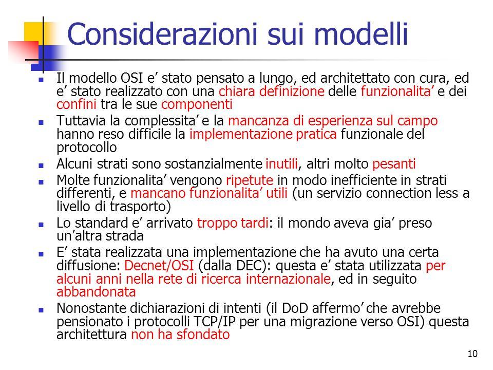 Considerazioni sui modelli