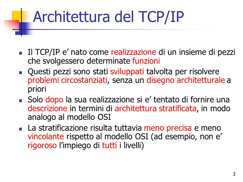 Architettura del TCP/IP