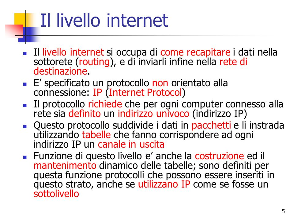 Il livello internet