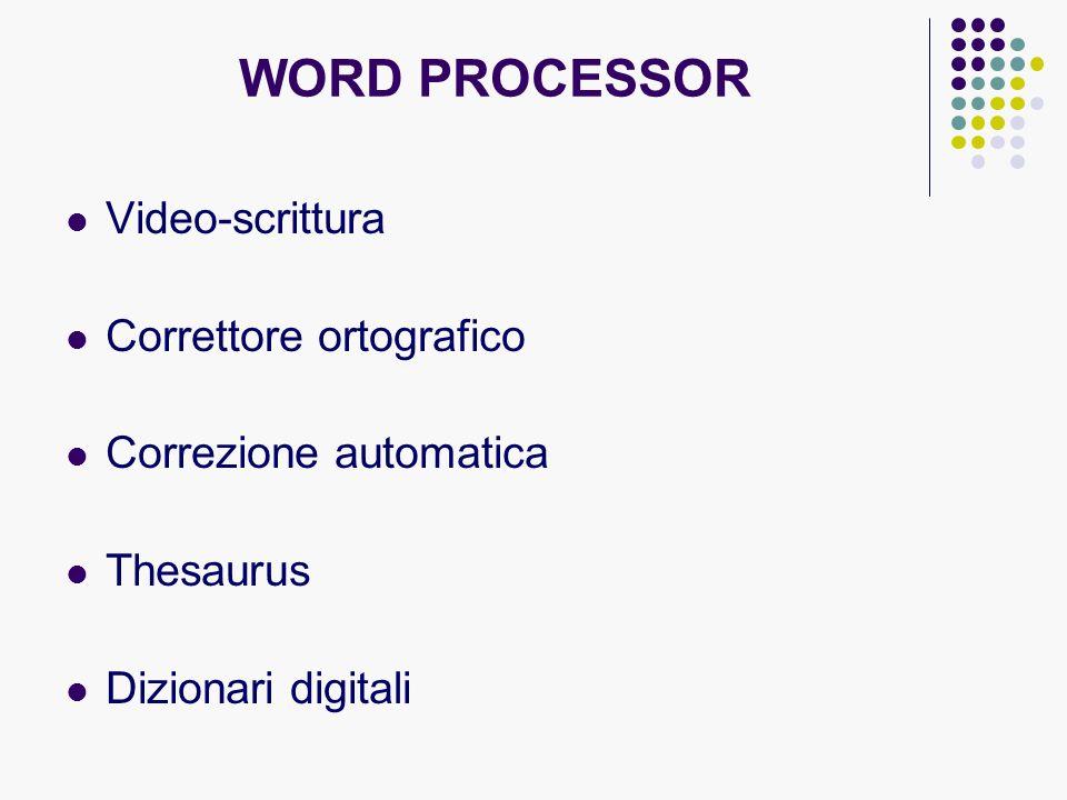 WORD PROCESSOR Video-scrittura Correttore ortografico