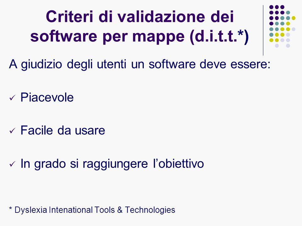 Criteri di validazione dei software per mappe (d.i.t.t.*)