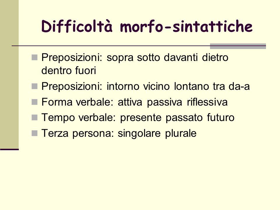 Difficoltà morfo-sintattiche