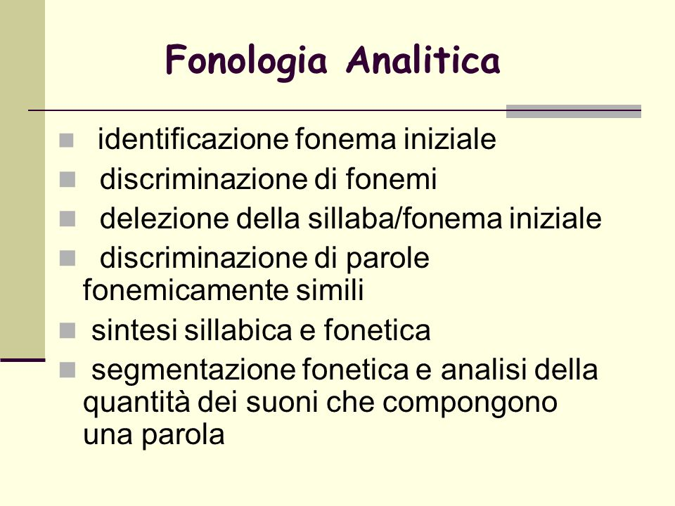 Fonologia Analitica discriminazione di fonemi