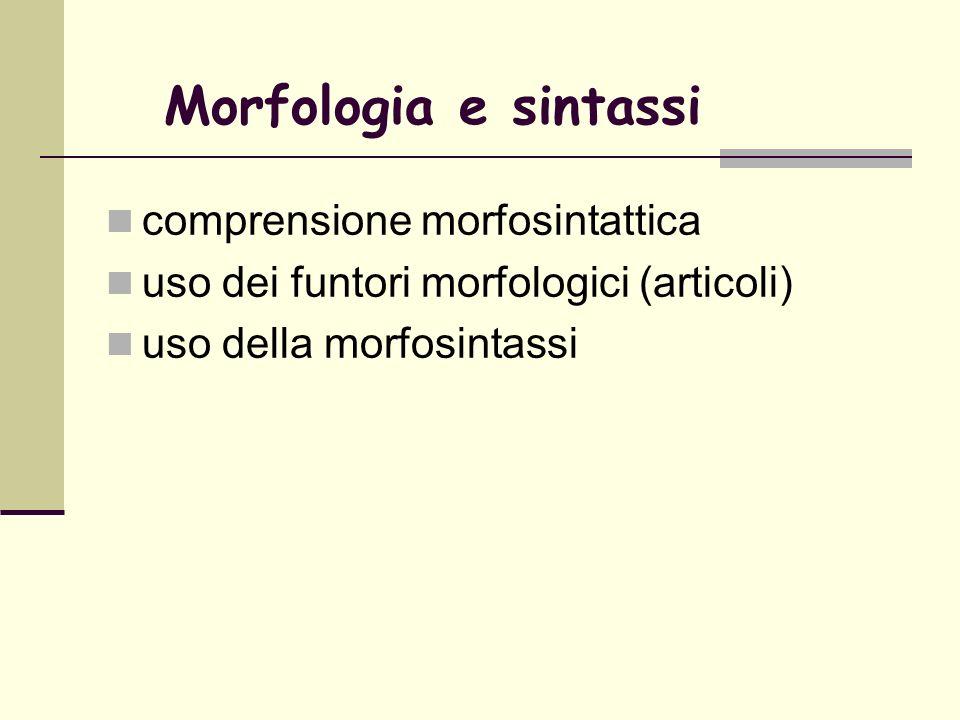 Morfologia e sintassi comprensione morfosintattica