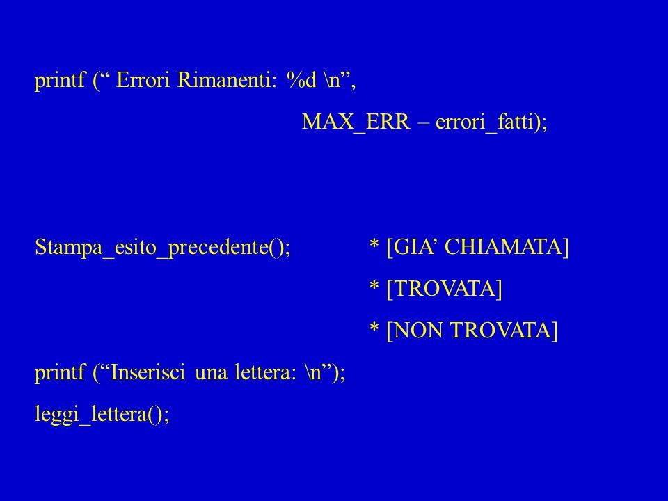 printf ( Errori Rimanenti: %d \n ,