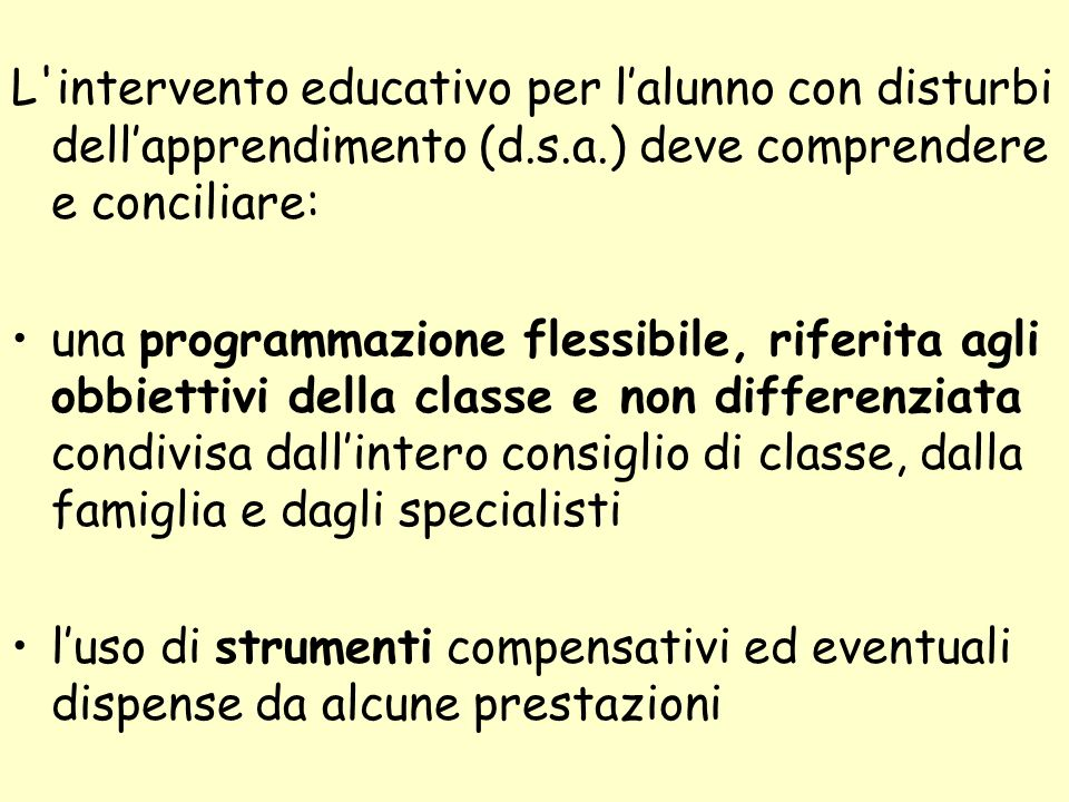 L intervento educativo per l'alunno con disturbi dell'apprendimento (d