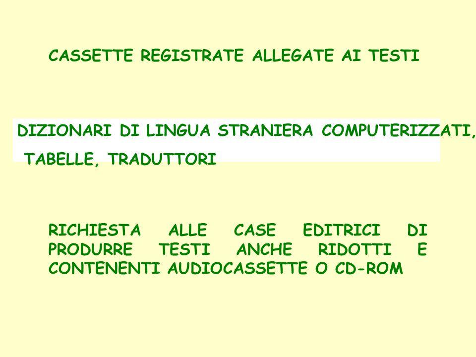 CASSETTE REGISTRATE ALLEGATE AI TESTI