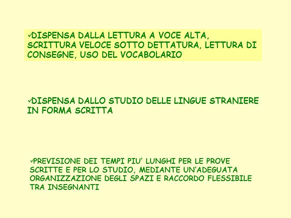 DISPENSA DALLO STUDIO DELLE LINGUE STRANIERE IN FORMA SCRITTA