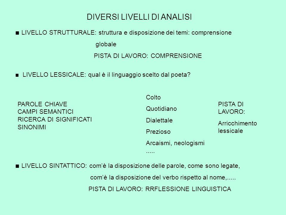 DIVERSI LIVELLI DI ANALISI