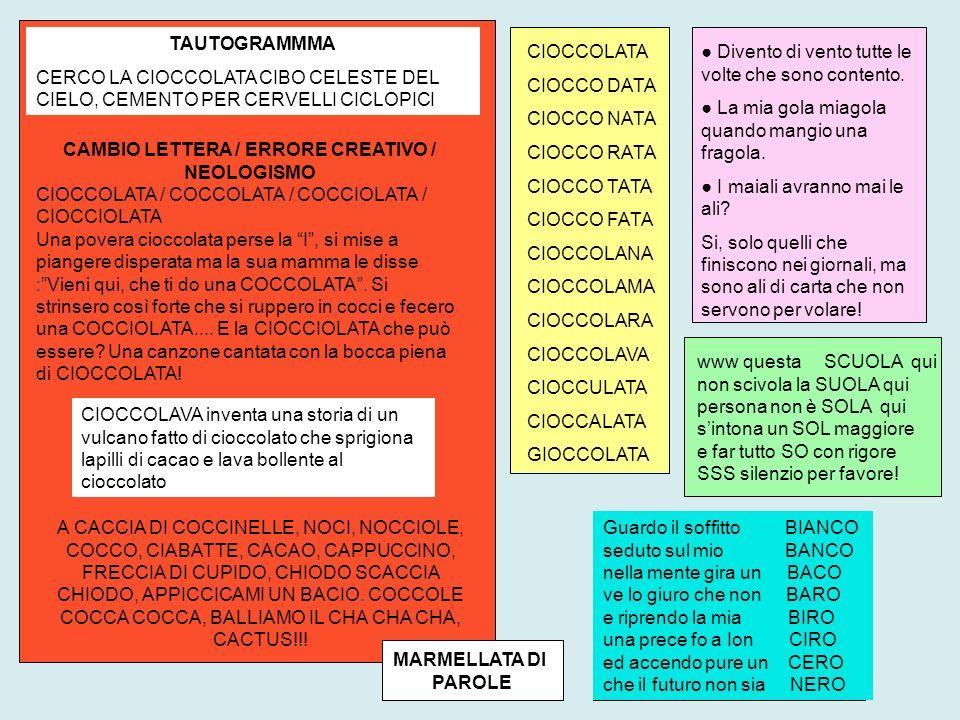 CAMBIO LETTERA / ERRORE CREATIVO / NEOLOGISMO