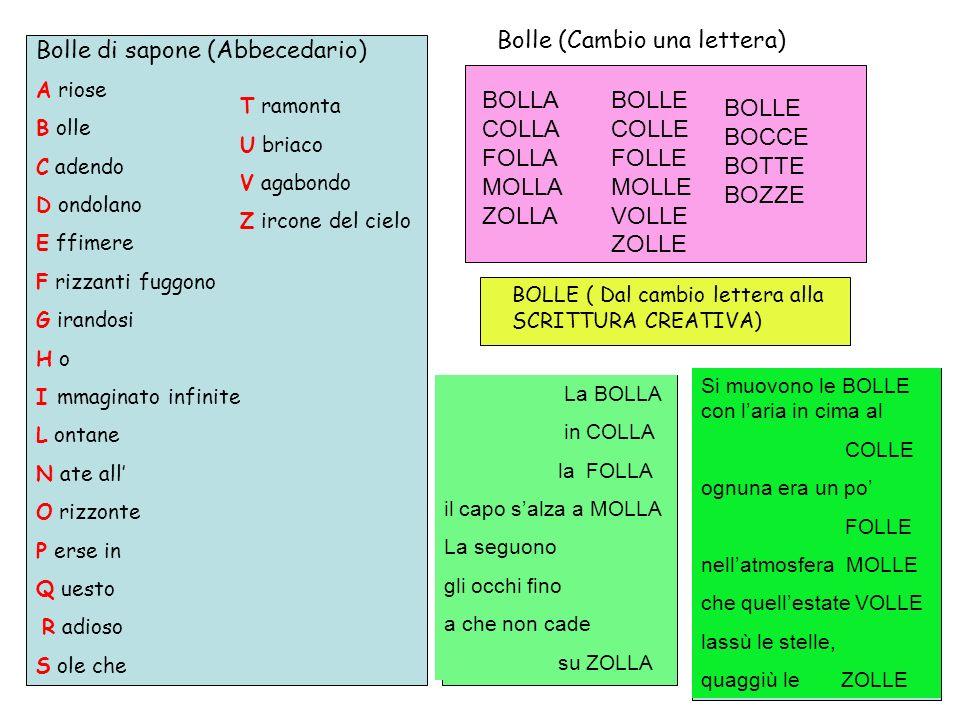 Bolle (Cambio una lettera) Bolle di sapone (Abbecedario)