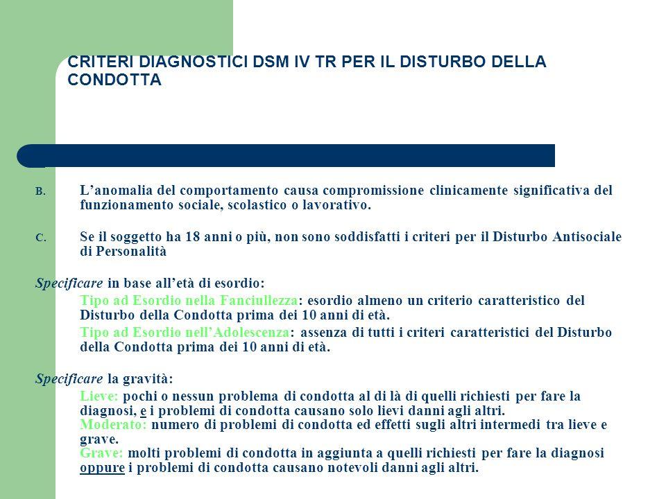 CRITERI DIAGNOSTICI DSM IV TR PER IL DISTURBO DELLA CONDOTTA
