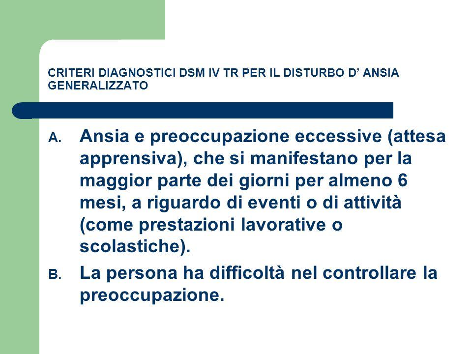 CRITERI DIAGNOSTICI DSM IV TR PER IL DISTURBO D' ANSIA GENERALIZZATO