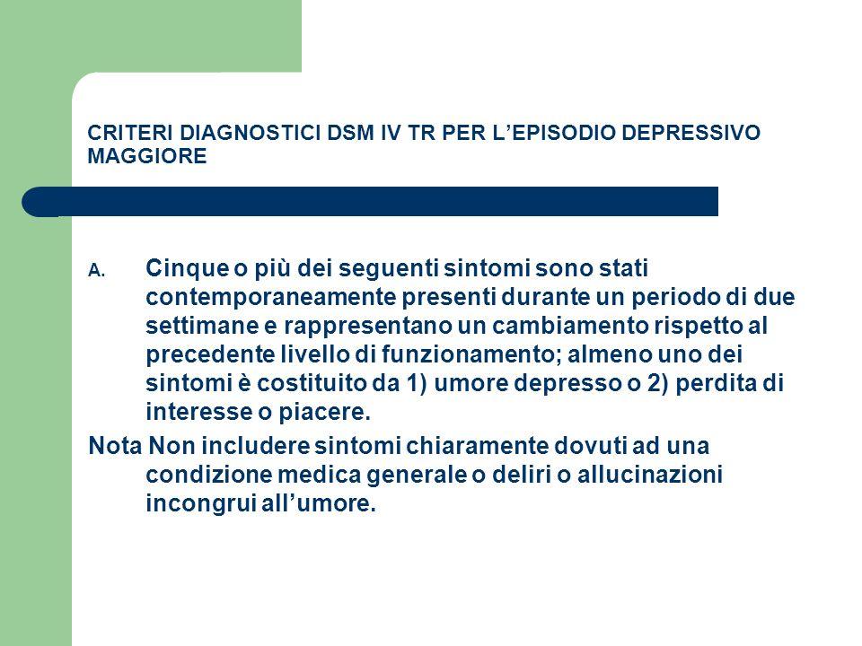 CRITERI DIAGNOSTICI DSM IV TR PER L'EPISODIO DEPRESSIVO MAGGIORE