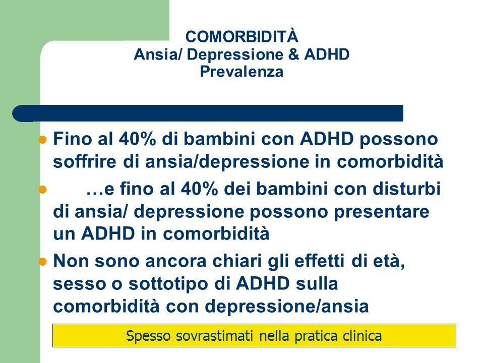 COMORBIDITÀ Ansia/ Depressione & ADHD Prevalenza
