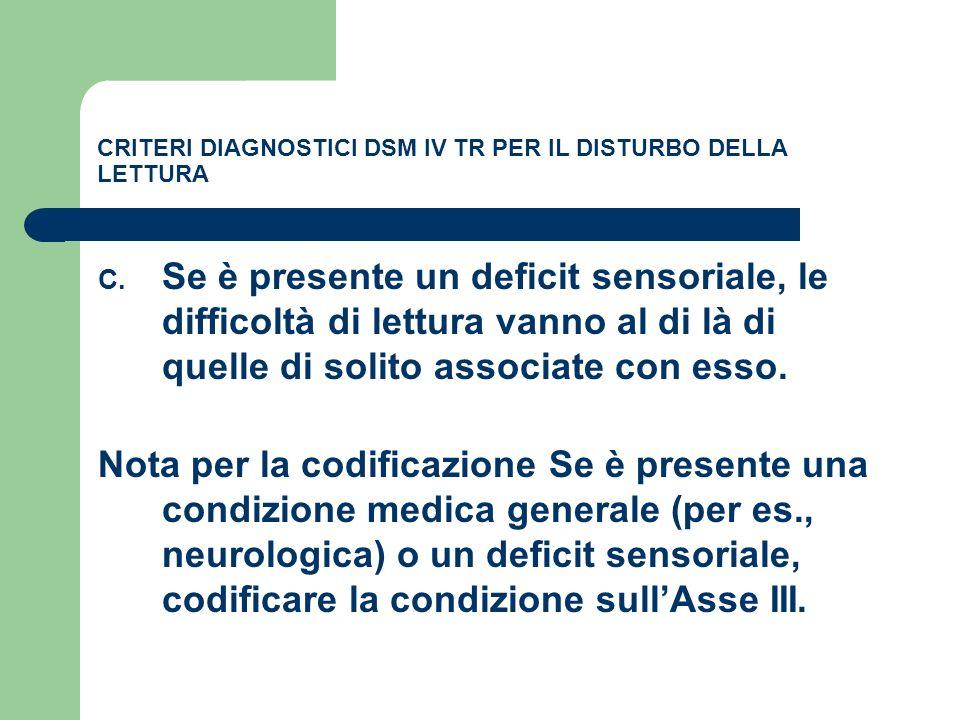 CRITERI DIAGNOSTICI DSM IV TR PER IL DISTURBO DELLA LETTURA