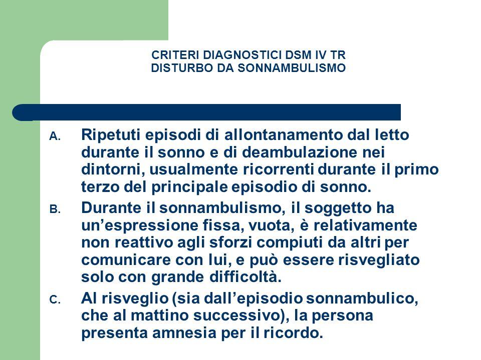 CRITERI DIAGNOSTICI DSM IV TR DISTURBO DA SONNAMBULISMO