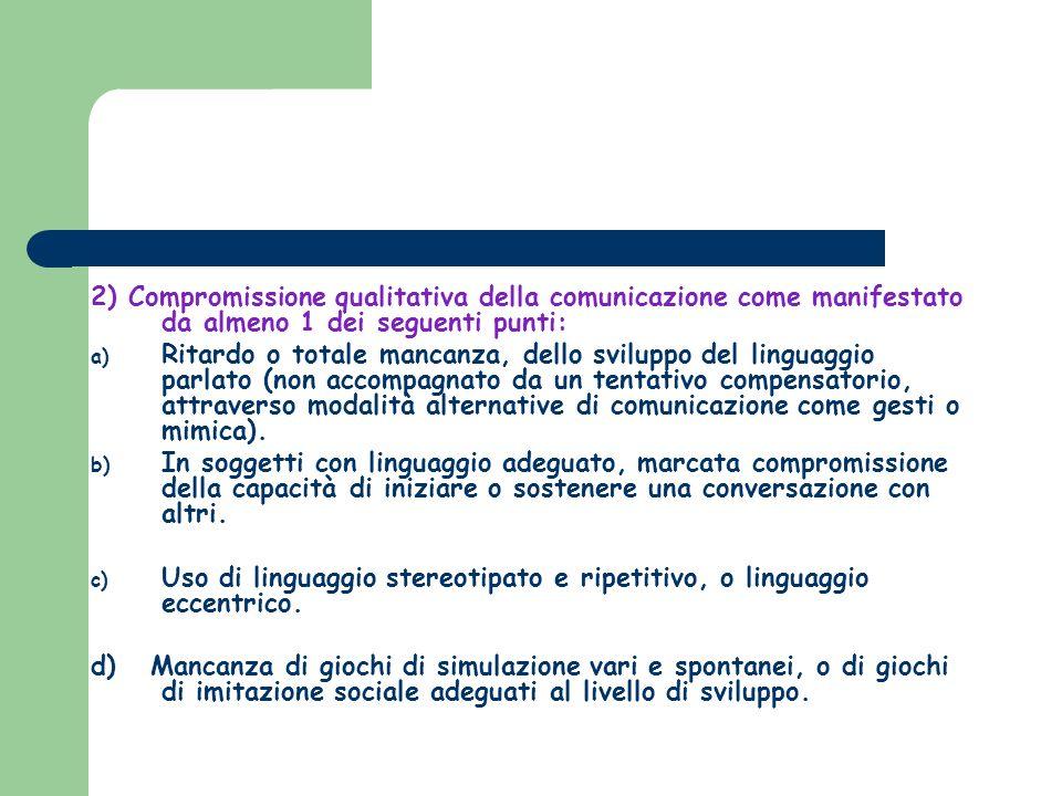 2) Compromissione qualitativa della comunicazione come manifestato da almeno 1 dei seguenti punti: