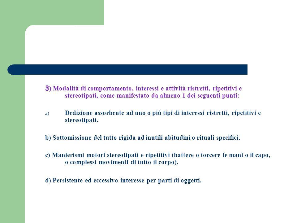 3) Modalità di comportamento, interessi e attività ristretti, ripetitivi e stereotipati, come manifestato da almeno 1 dei seguenti punti: