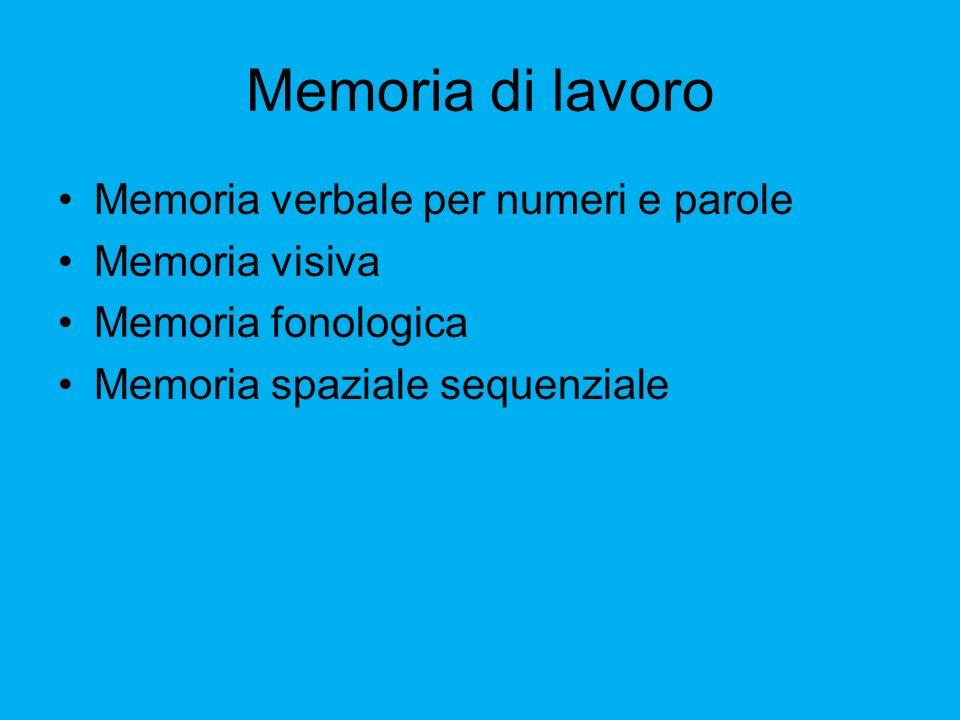 Memoria di lavoro Memoria verbale per numeri e parole Memoria visiva
