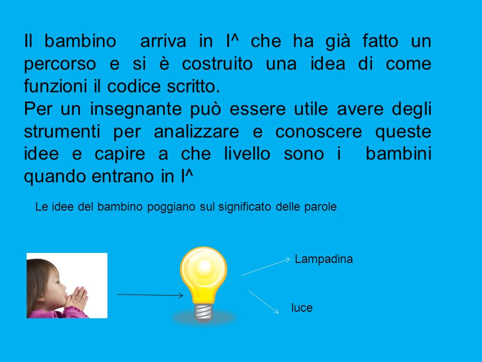 Il bambino arriva in I^ che ha già fatto un percorso e si è costruito una idea di come funzioni il codice scritto.