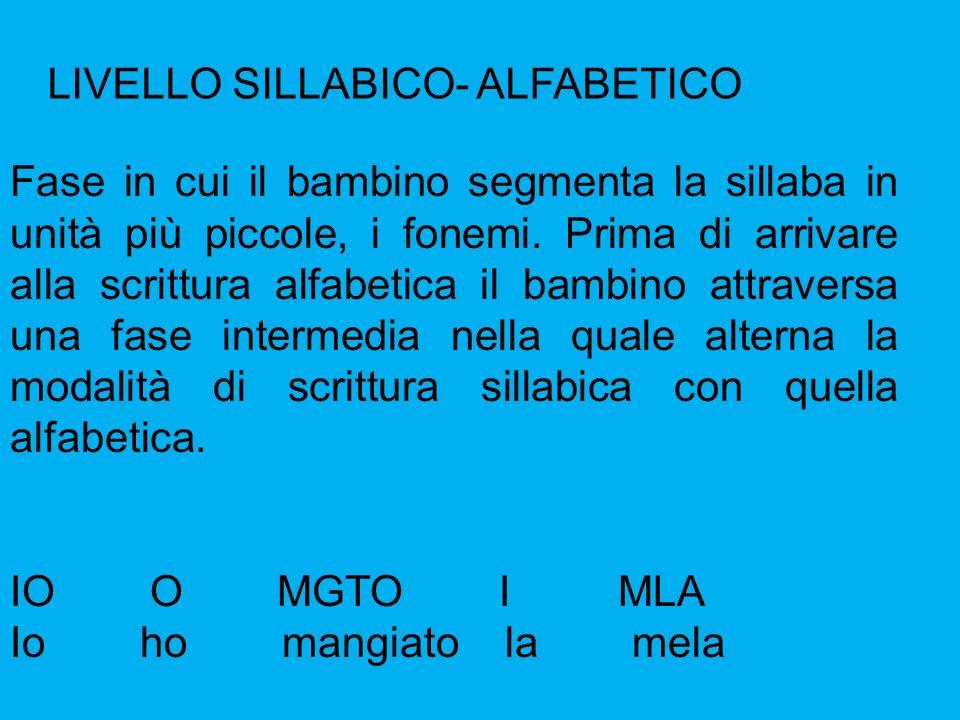 LIVELLO SILLABICO- ALFABETICO