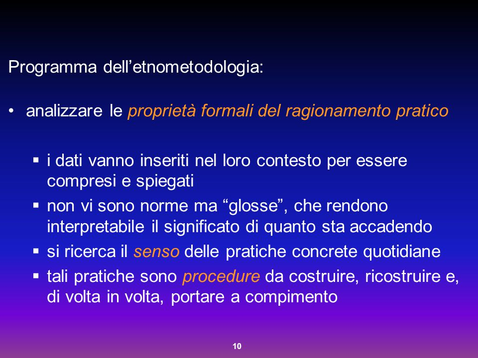 Programma dell'etnometodologia: