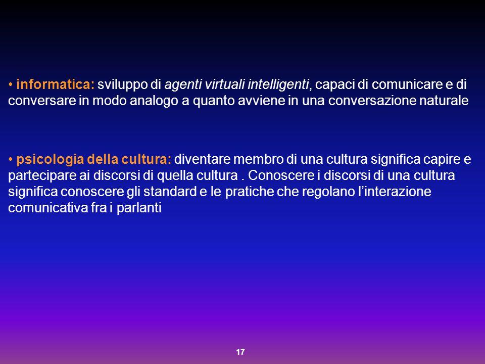informatica: sviluppo di agenti virtuali intelligenti, capaci di comunicare e di conversare in modo analogo a quanto avviene in una conversazione naturale