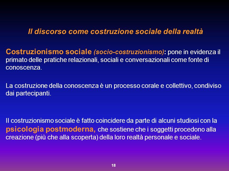 Il discorso come costruzione sociale della realtà