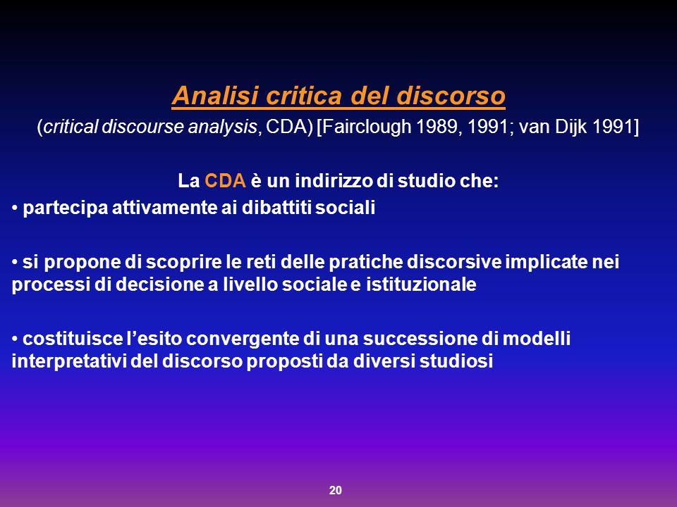 Analisi critica del discorso La CDA è un indirizzo di studio che: